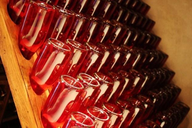 Bottles of fermenting Slovenian Wine in cellar at Hisa Vina Doppler