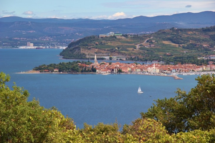 View of Izola, Slovenia from top of cliffs at Strunjan Nature Reserve