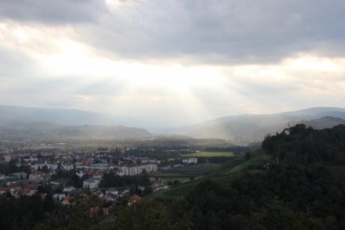 Sun rays on Pyramid Hill Piramida in Maribor, Slovenia