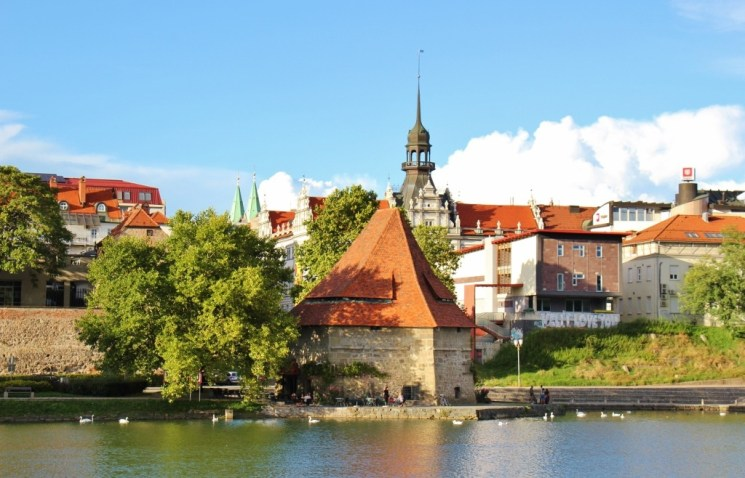 Defensive Water Tower and wine cafe on Drava River in Lent District in Maribor, Slovenia