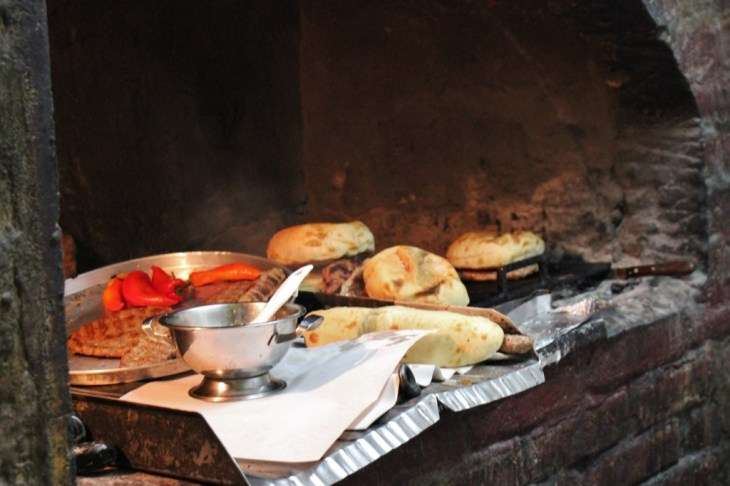 Meat grilling at fast food take away restaurant in Belgrade, Serbia