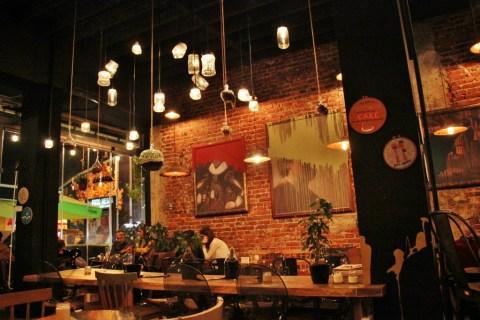 Inside Half and Half Cafe on Mother Teresa Boulevad in Prishtina, Kosovo