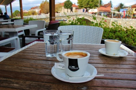 Macchiatos at a cafe on the river in Prizren, Kosovo