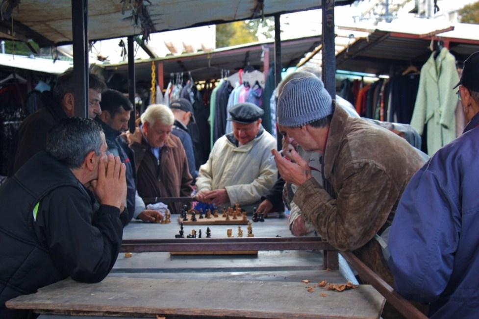 Men playing chess at Green Market in Belgrade, Serbia
