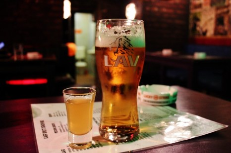 Rakija and Lav Beer at Idiott Bar in Belgrade, Serbia