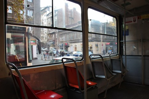 Empty seats on Tram #2 in Belgrade, Serbia