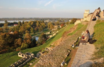 Sunset on the walls of Belgrade Fortress, Belgrade, Serbia