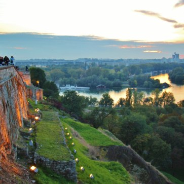 Watching sunset over Western City Gate from Belgrade Fortress, Belgrade, Serbia