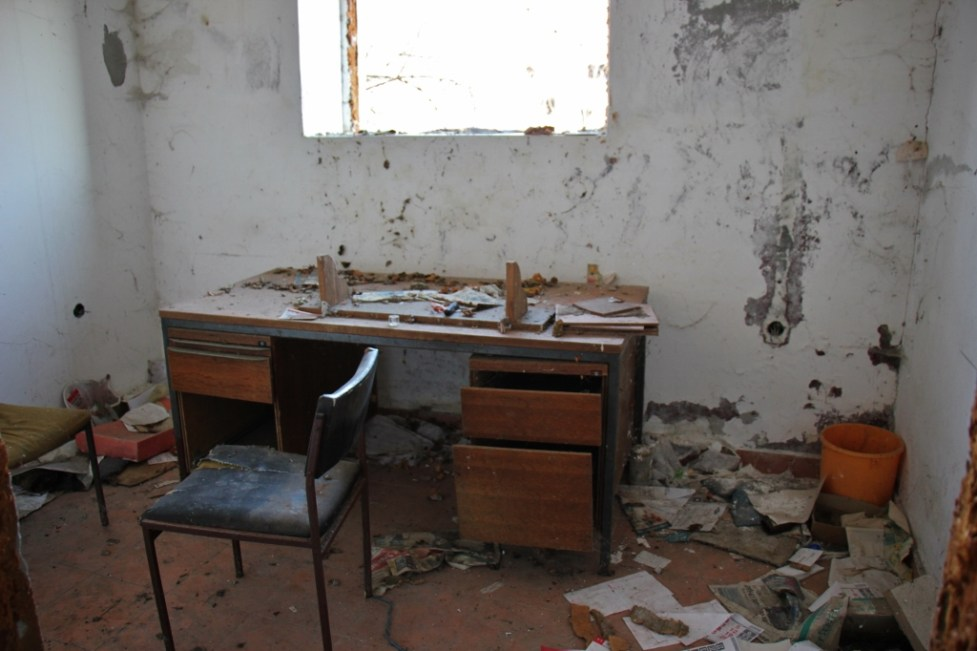 Abandoned office in barn in Zmajevac Village near Osijek, Croatia