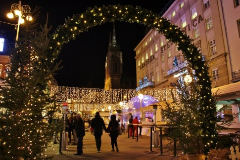 Celebration on Ban Jelacic Square during Christmas in Zagreb, Croatia