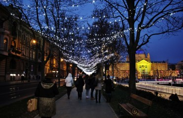 Lights hang overhead at Tomislav Square during Christmas inZagreb, Croatia