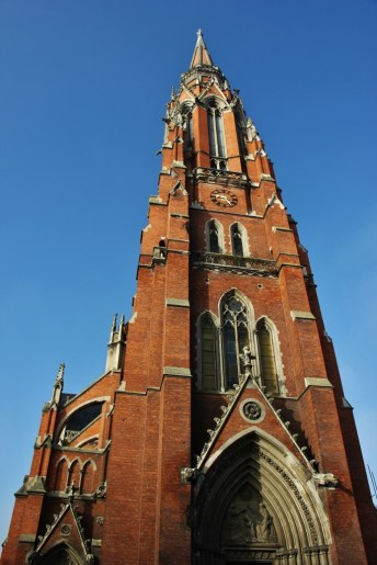 Bell tower of Co-Cathedral of St. Peter and St. Paul in Osijek, Croatia