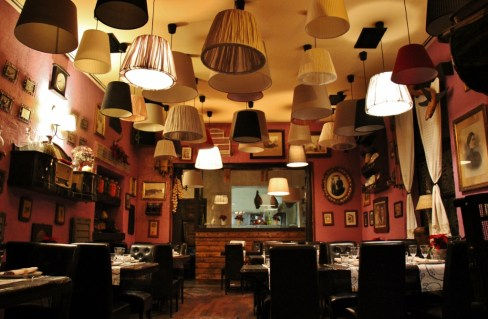 Lampshade dining room at Ruza Restaurant in Osijek, Croatia