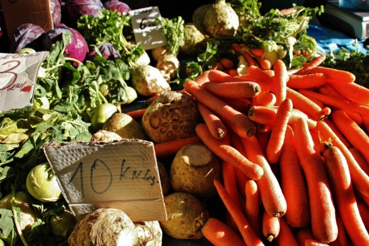 Colorful vegetables at Green Produce Market in Osijek, Croatia