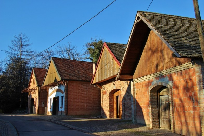 Row of wineries in Zmajevac Village near Osijek, Croatia