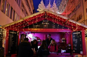 Mulled Wine and sausages for sale from wooden huts during Advent in Zagreb, Croatia