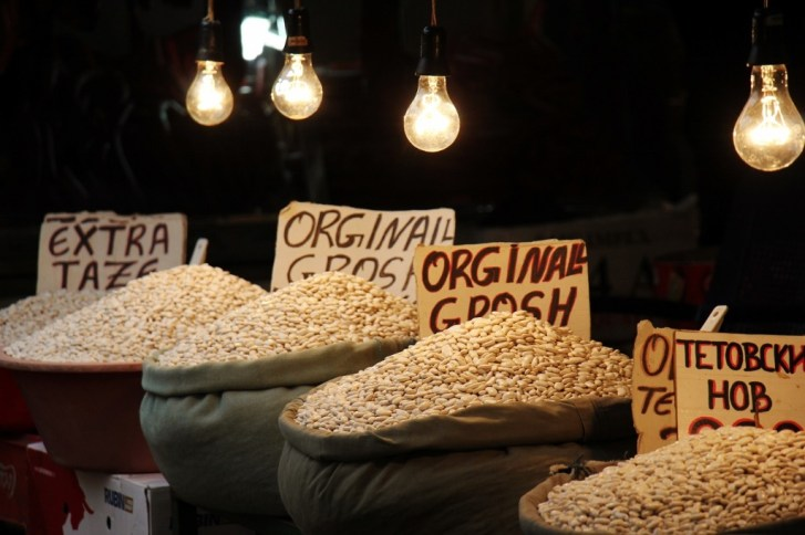 Bags of beans at Bit Pazar Market, Old Bazaar, Skopje, Macedonia