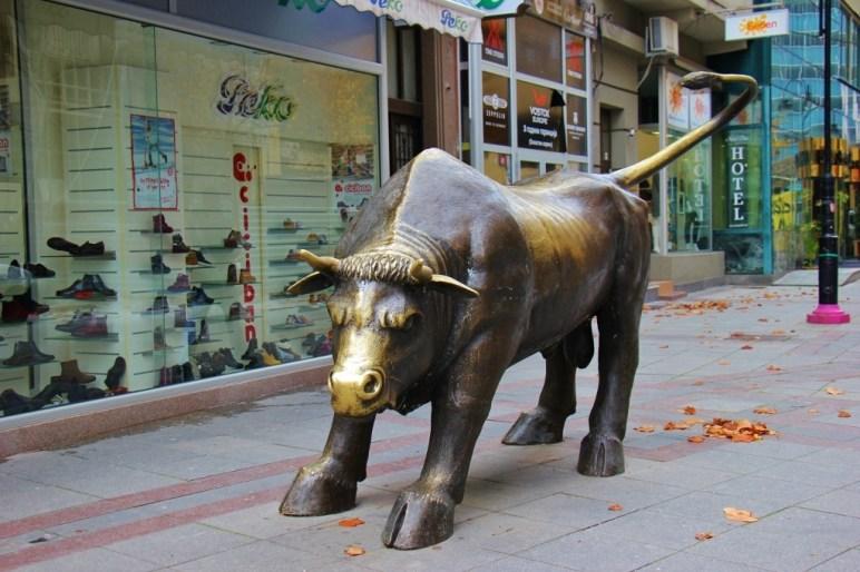 Charging Bull Statue, Skopje, Macedonia