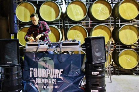 DJ spins music at Fourpure Brewery Taproom, Bermondsey Beer Mile, London Craft Beer Crawl