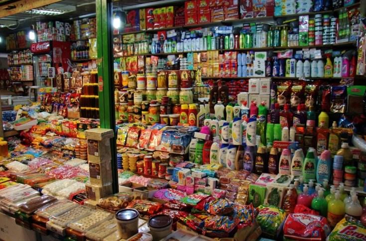Stocked shelves at Bit Pazar, Old Bazaar, Skopje, Macedonia