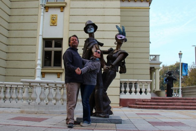 Statue of couple dancing at National Theater, Skopje, Macedonia