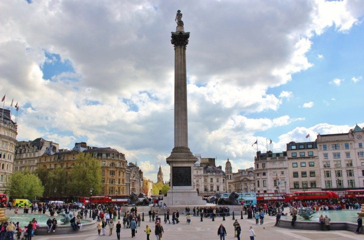 Nelson's Column in Trafalgar Square, London, England, jetsettingfools.com