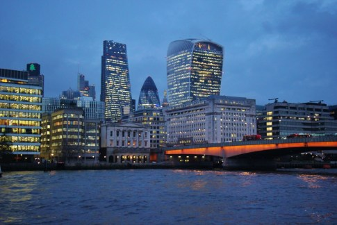 Modern City Skyline at Dusk, London, England, jetsettingfools.com
