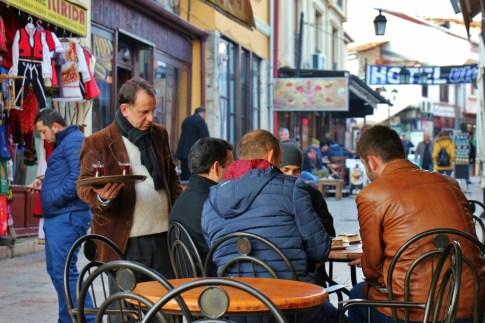 Men at cafe in Old Bazaar, Skopje, Macedonia