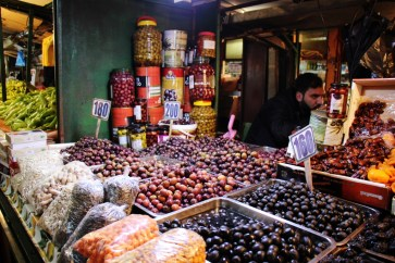 Olives for sale at Bit Pazar Market, Old Bazaar, Skopje, Macedonia