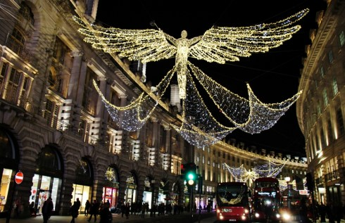 Regent Street decorated for Christmas, London, England, jetsettingfools.com