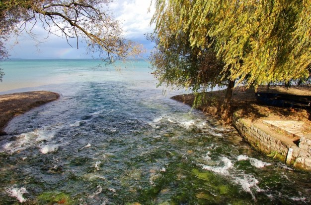 River Crn Drim empties into Lake Ohrid in Macedonia