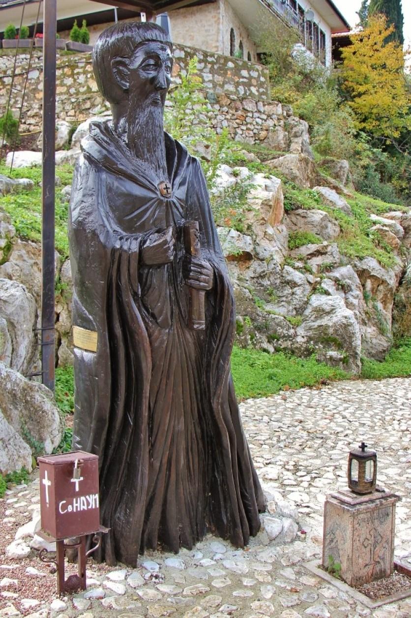 Wood sculpture at St. Naum Monastery, Lake Ohrid, Macedonia