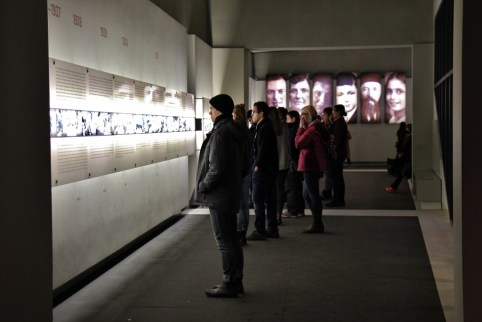 Inside the Information Center at the Memorial to the Murdered Jews of Europe in Berlin, Germany