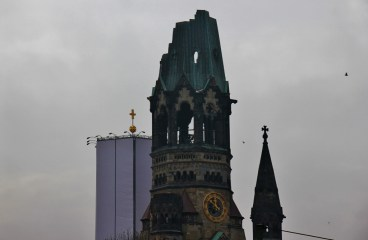 The preserved tower of the Kaiser-Wilhelm Memorial Church in Berlin, Germany