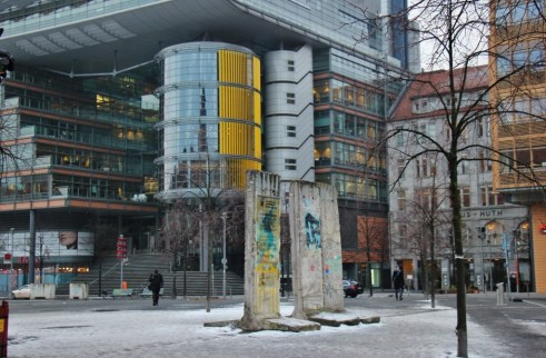 Part of the Berlin Wall still stands in Potsdamer Platz in Berlin, Germany
