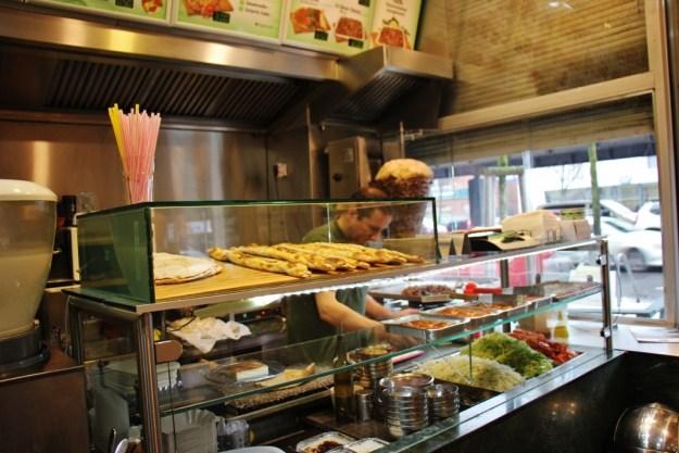 Food counter at Tekbir Doner in Berlin, Germany