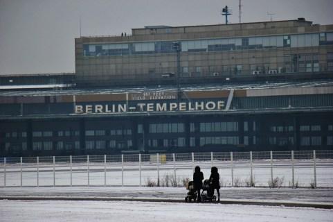 Tempelhof Airport and Tempelhofer Feld Park in in Berlin, Germany