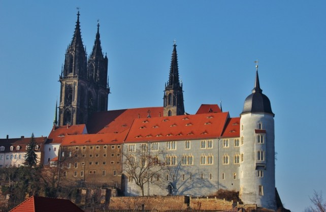 Hilltop Albrechtsburg Castle and Gothic Cathedral in Meissen near Dresden, Germany