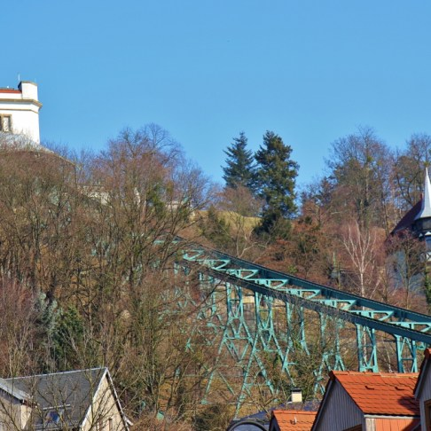 Schwebebahn suspended monorail track in Loschwitz, Dresden, Germany