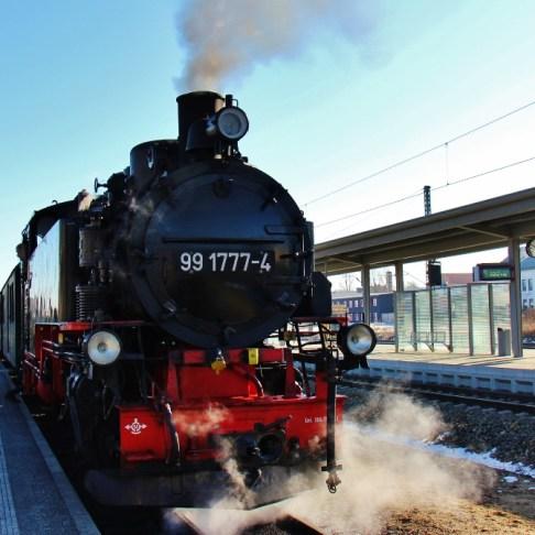 Historic steam train from Radebeul to Moritzburg near Dresden, Germany