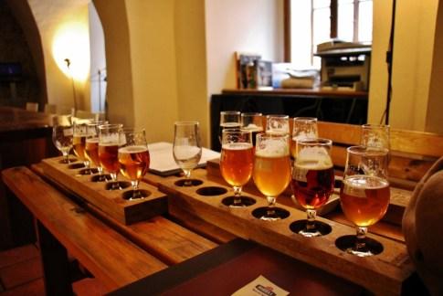 Craft beer samples at U Kunstatu Craft Beer Club, Prague, Czech Republic