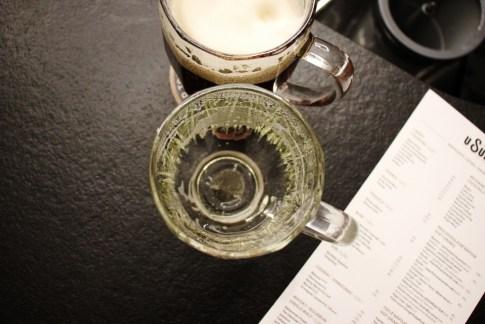 Empty glass beer mug at U Supa Brewery, Prague, Czech Republic