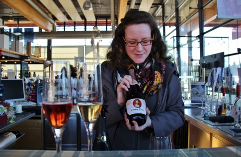 Tasting local wine at Wackerbarth Winery near Dresden, Germany