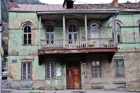 A crumbling house in Tbilisi, Georgia