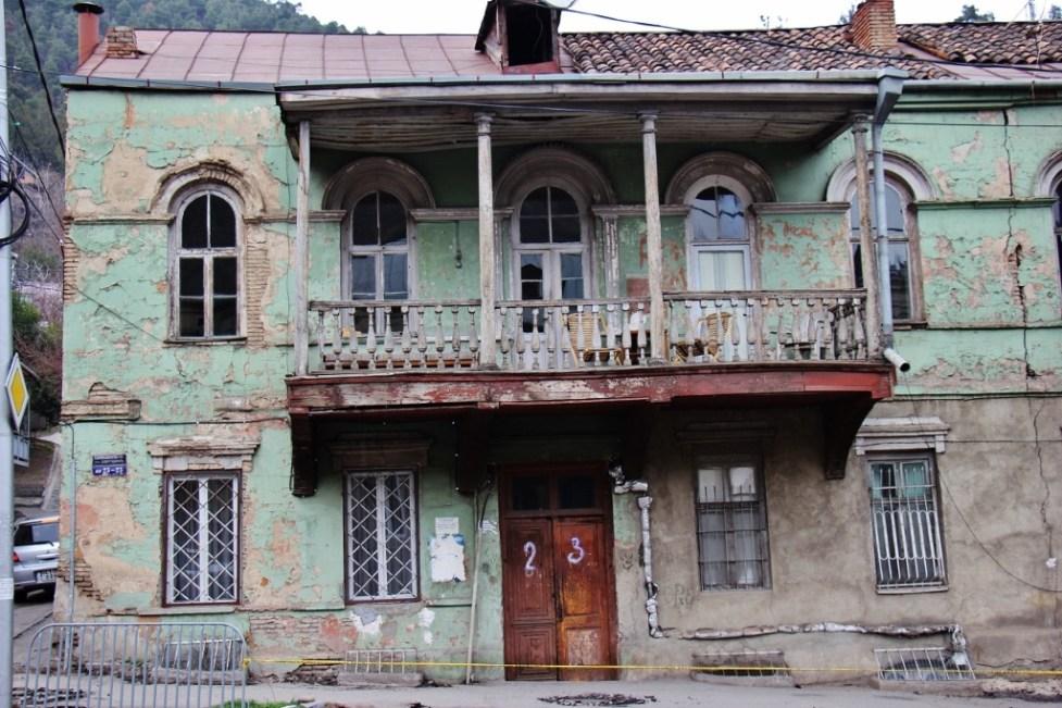 A crumbling house in Tbilisi, Georgia