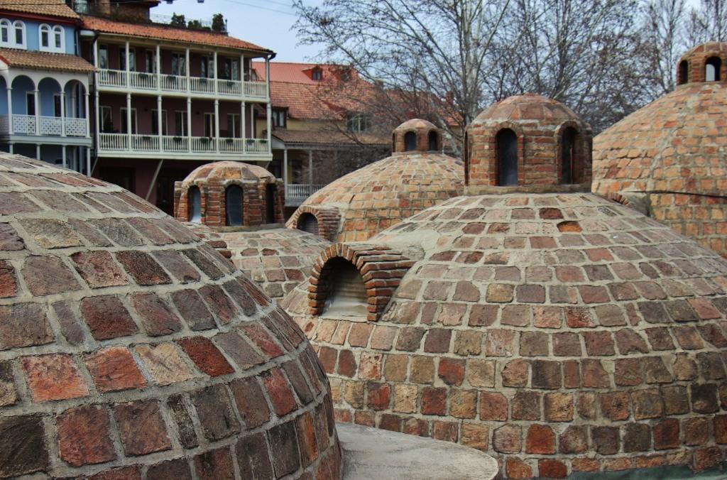 Red brick domes of Abanotubani Bathhouses, Tbilisi, Georgia