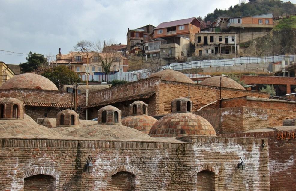 Brick domes of the Abanotubani Bathhouses in Tbilisi, Georgia