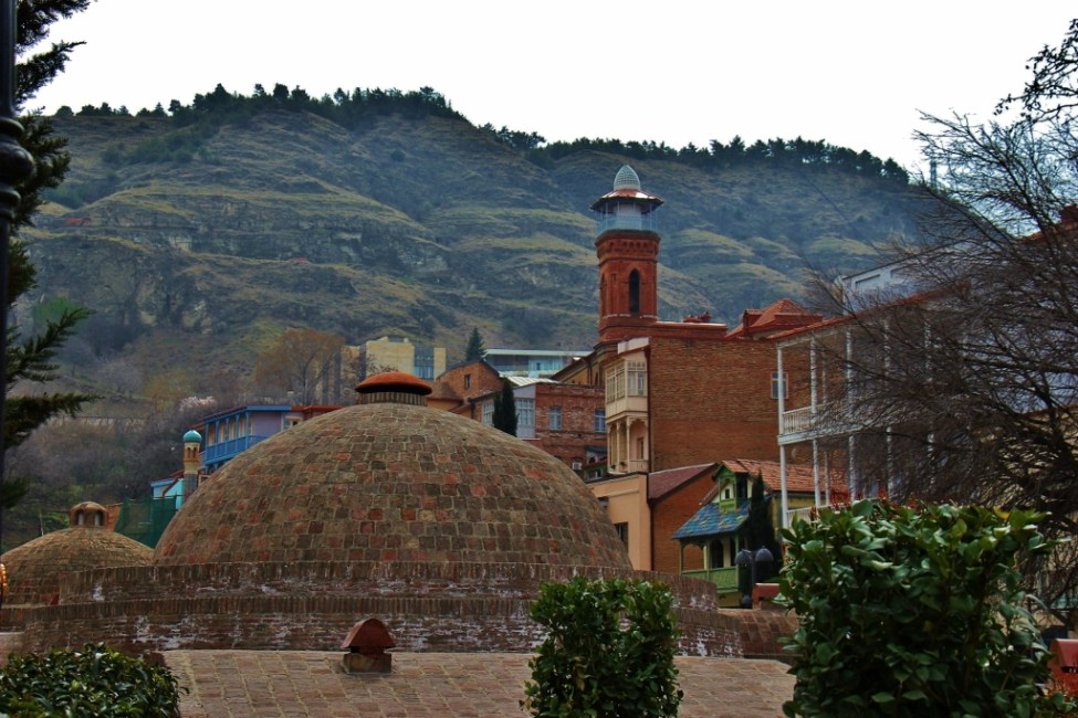 Bathhouse domes and Mosque in Abanotubani district in Tbilisi, Georgia