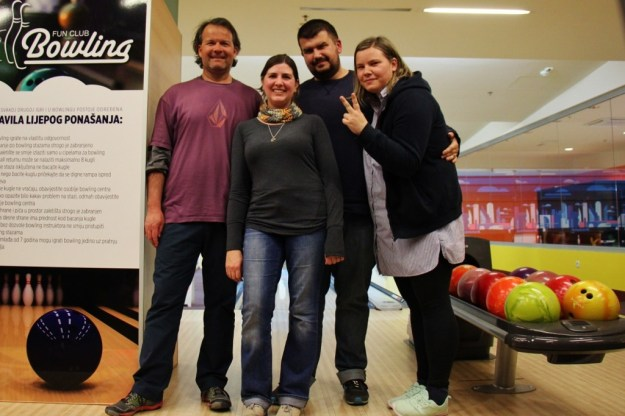 Group of friends bowling in Mostar, Bosnia-Herzegovina