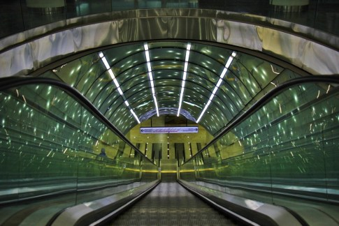 Entrance into Centrum Nauki Kopernik Metro Station in Warsaw, Poland